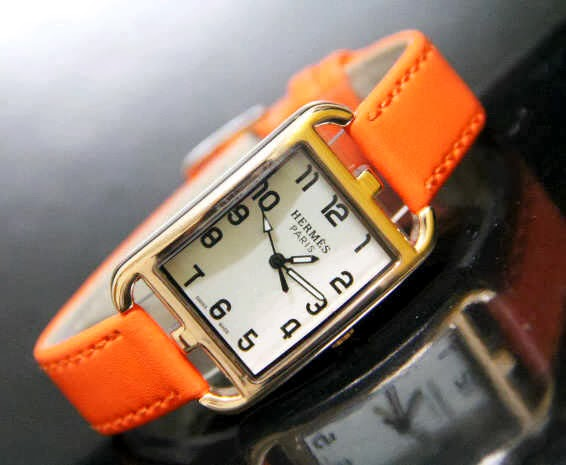 Jam Tangan Hermes 9809 Leather Orange