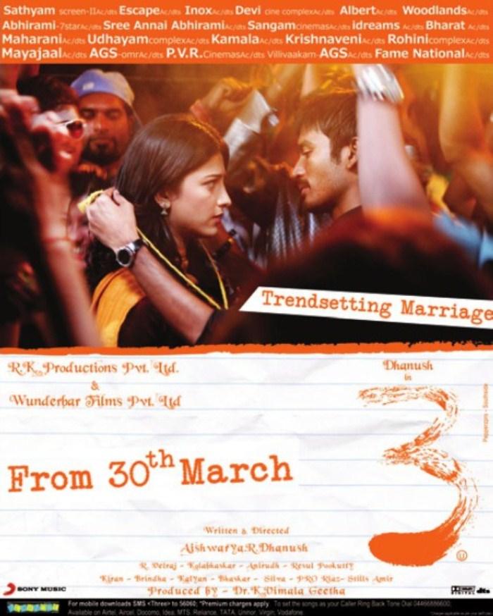 Chennai Dhanush 3 Movie Posters Dhanush Shruti Hasan In 3 Tamil