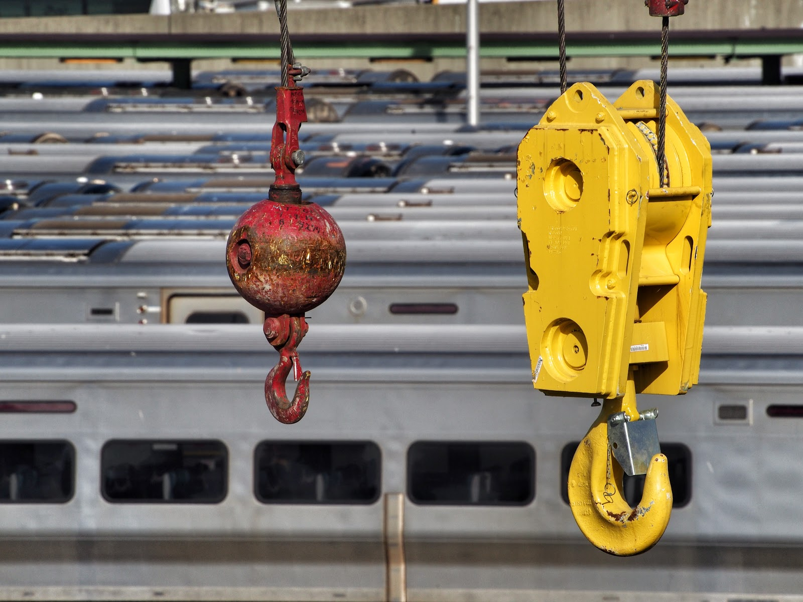 Just Two Hooks Hanging Out at the Yard #twohooks #hudsonyard #crane #mantiscrane #nyc #construction #LIRR #trains 2014