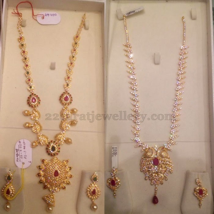 70gms weight of cz long chains jewellery designs