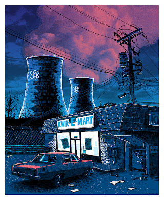 """Unreal Estate"" Tim Doyle Solo Art Show - ""Night over the SNPP"" The Simpsons Screen Print"