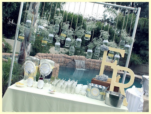 karas party ideas vintage grey yellow bridal shower