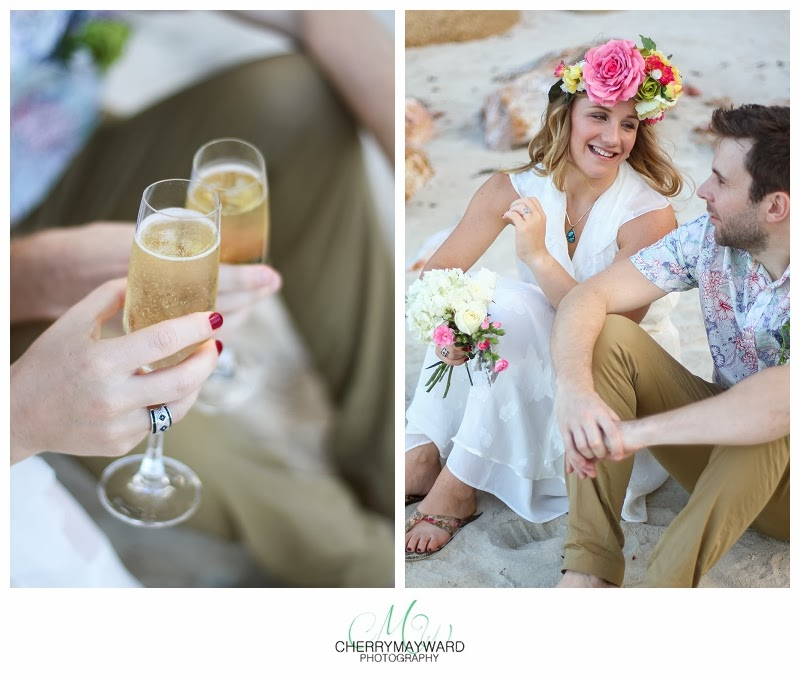 intimate beach wedding, ooh samui beach wedding, beautiful beach wedding, champagne celebration, celebrate 10 years, sparkling wine, best friends, 10 years of marriage, Koh Samui vowel renewal, Thailand Wedding Photographer,