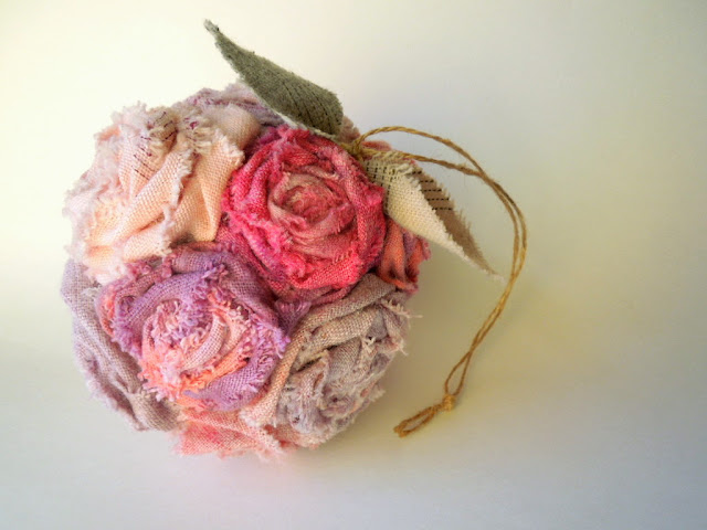 dyed fabric flower wedding bouquet