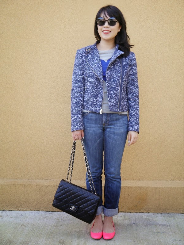 A mix of blue pieces for spring: tweed moto jacket, heart intarsia sweater, cuffed jeans
