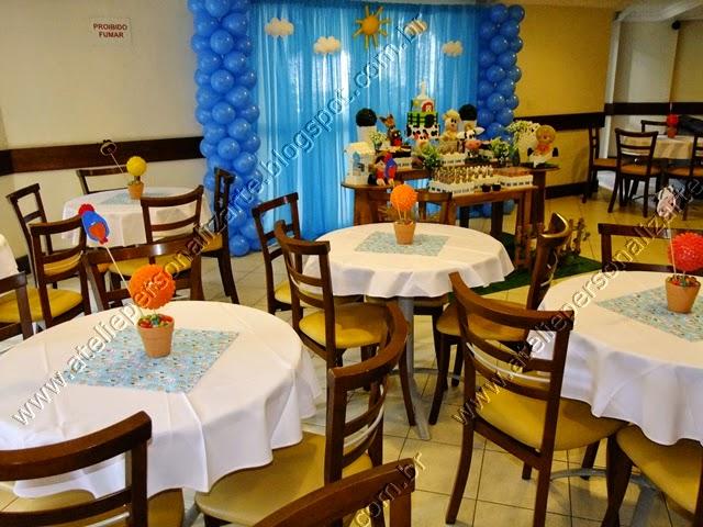 Decoração de festa infantil Fazendinha Azul Menino