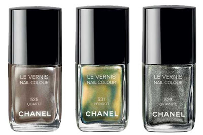 Chanel, Chanel nail polish, Chanel Le Vernis Nail Colour, Chanel Fall 2011 nail polish collection, Chanel Fall 2011 Le Vernis Nail Colour collection, Chanel Le Vernis Nail Colour Graphite, Chanel Le Vernis Nail Colour Peridot, Chanel Le Vernis Nail Colour Quartz, nail, nails, nail polish, polish, lacquer, nail lacquer
