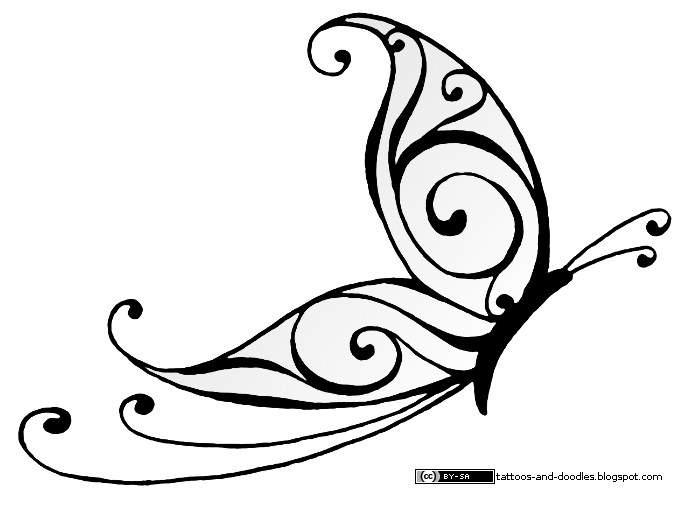 Simple Line Art Designs : Tattoos and doodles simple butterfly