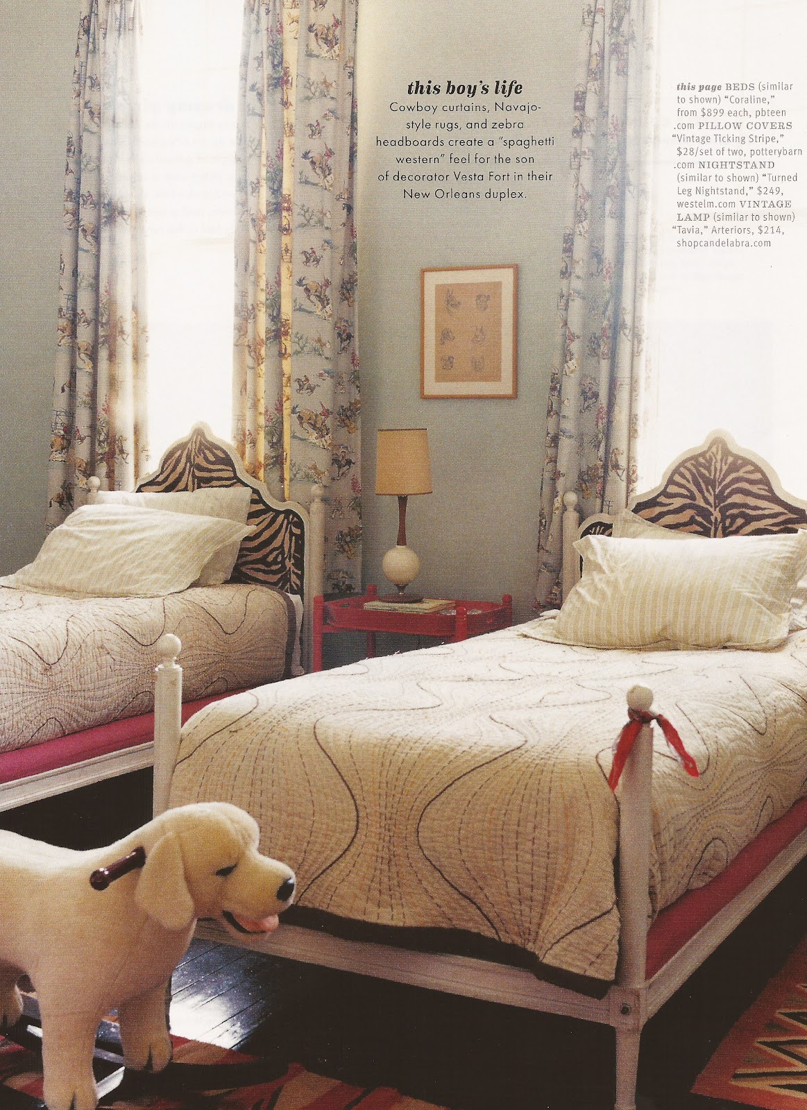 Spectacular Double the pleasure double the fun What great headboard fabric and a Golden Retriever rocker I um in love