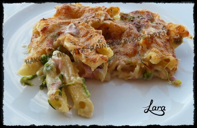 pasta al forno con verdure e prosciutto cotto