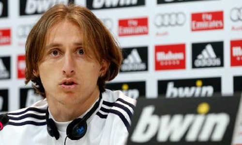 Luka Modric at press conference in Real Madrid stadium