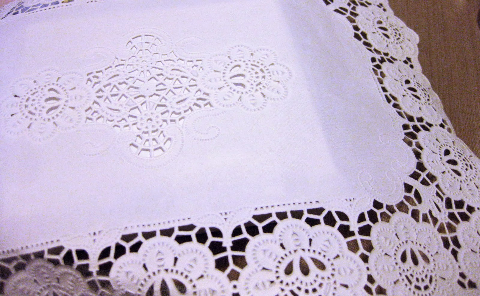 upcycled doily gift wrap