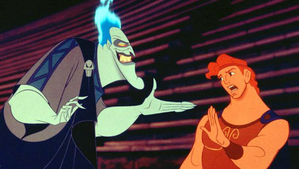Hercules (Tate Donovan) and Hades (James Woods) in Disney's Hercules