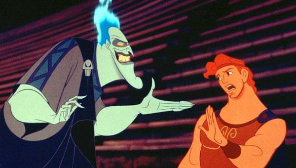 Hercules (Tate Donovan) and Hades (James Woods) in Disney's Hercules