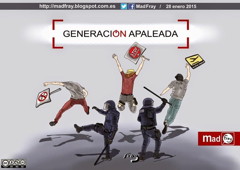 Viñeta de humor y ironía: Banco Santander compra todas las portadas de los principales periódicos de España, Generación apaleada, prensa comprada, Mad Fray