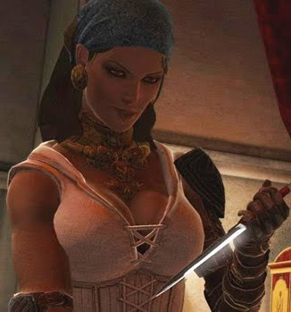 Isabela - a buxom pirate wench with the voice of ... a BBC news reader?!