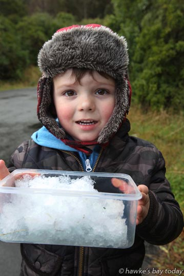 Zac Flanders, 3, Havelock North, collected up some snow from Te Mata Peak, Havelock North, to take to his daycare. photograph