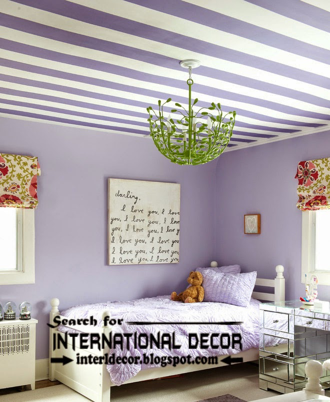 striped ceiling paint designs for nursery, kids ceiling designs, purple ceilings