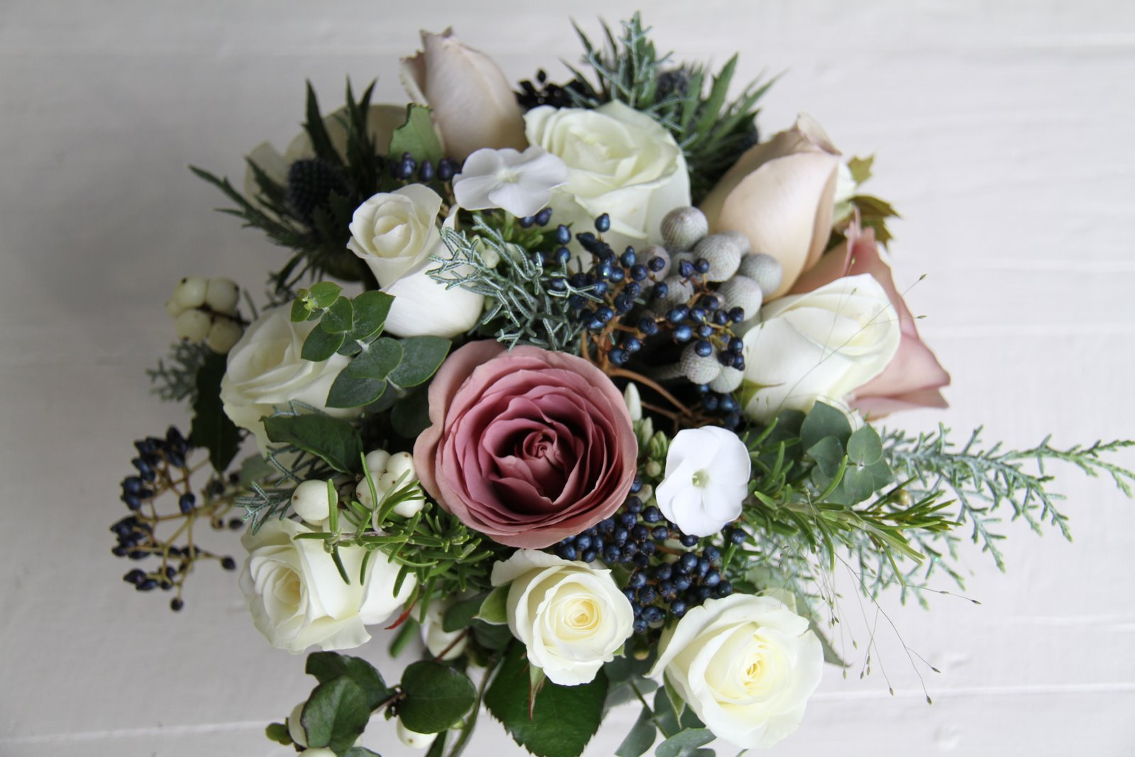 The Flower Magician Winter Hedgerow Gathered Wedding Bouquet