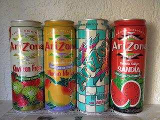 Arizona: Kiwi con fresa, Mucho Mango, Té Helado y Sandía.