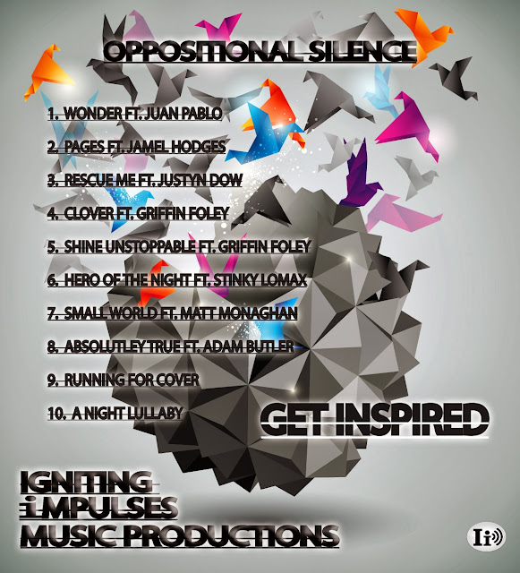Get Inspired, Oppositional Silence Poster including images of Origami Birds, colorful, and the Track Listing of the Album.