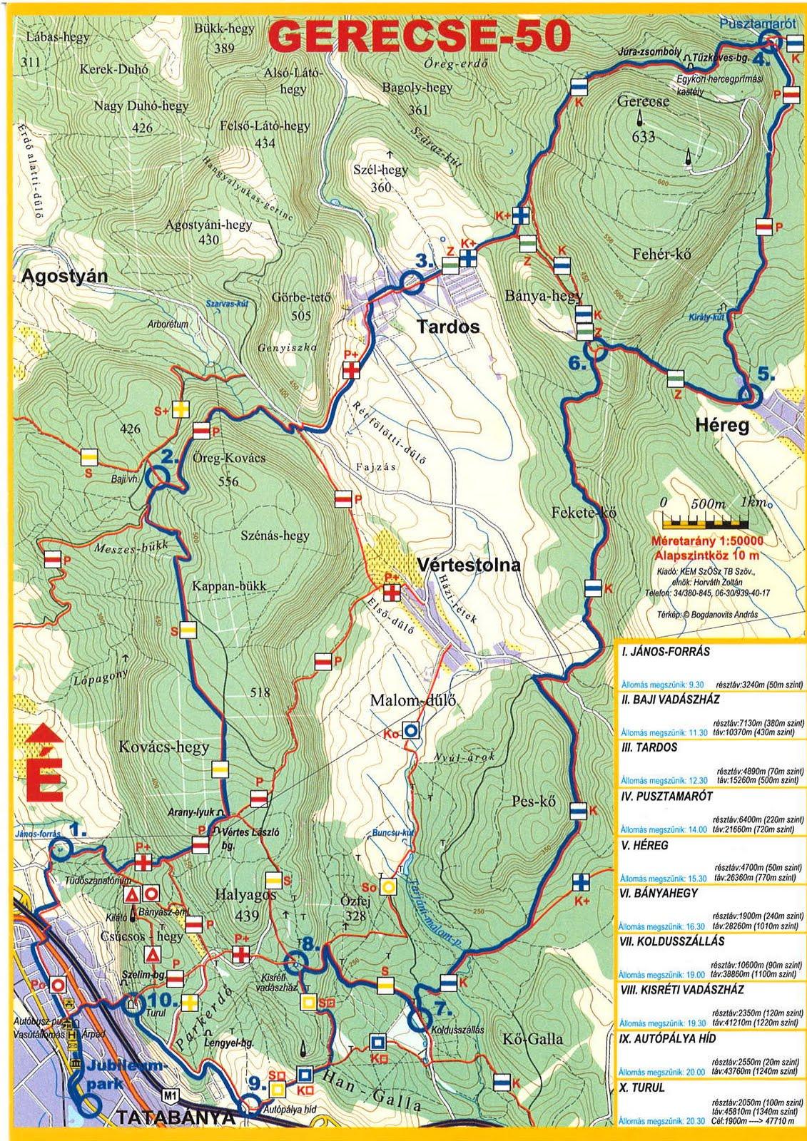 Gerecse 50 útvonal Térkép