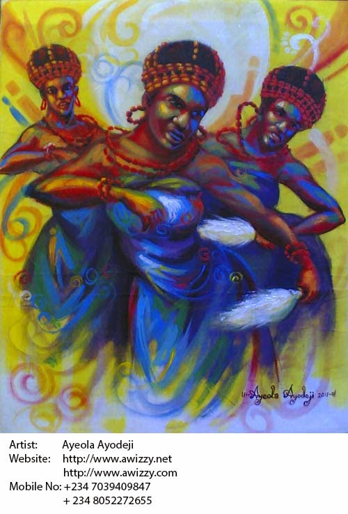 african art painting by best artist in nigeria and renown nigerian painter ayeola ayodeji abiodun