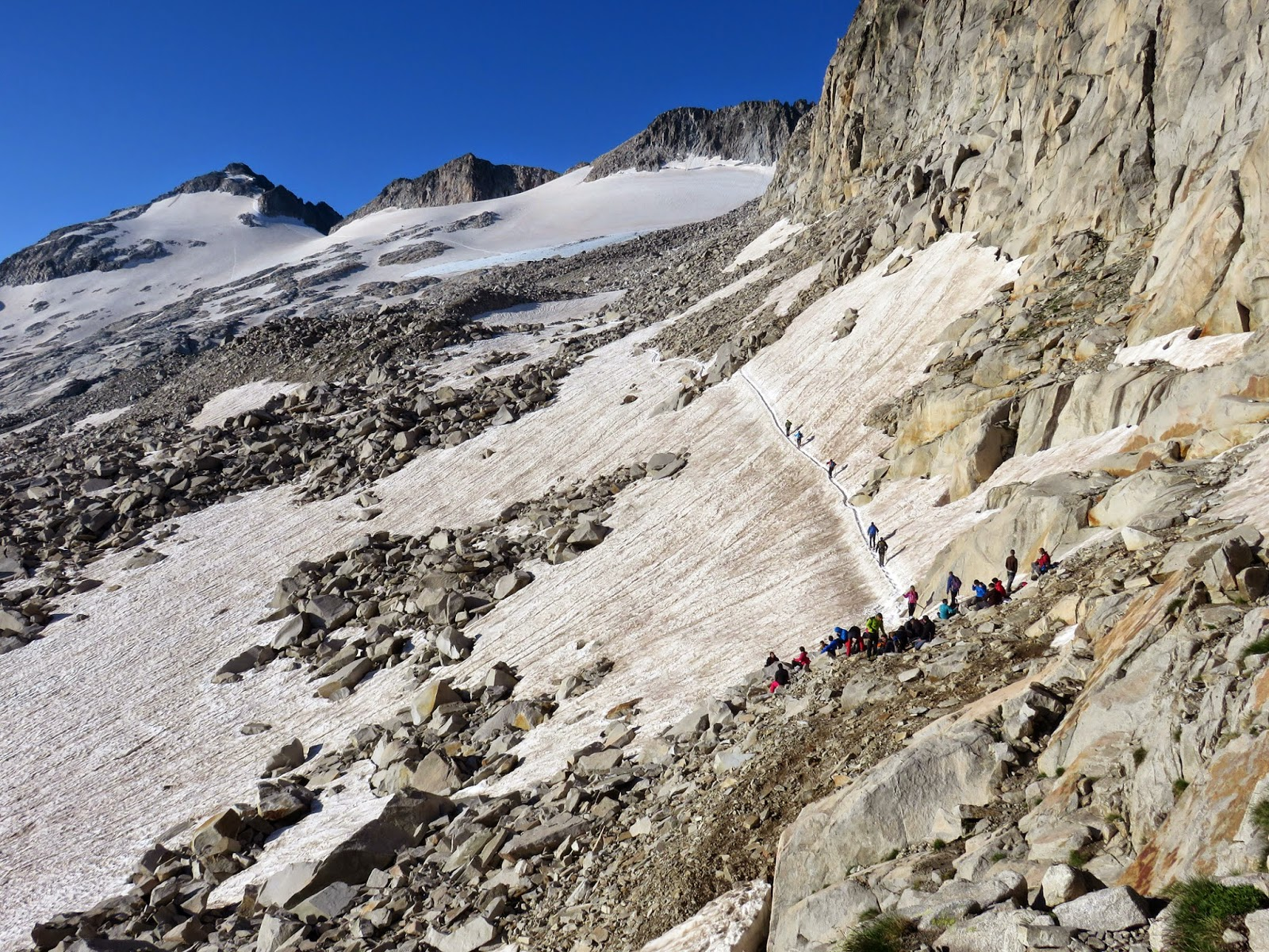 Vistas al pico Aneto y Glaciar del Aneto desde Portillón Superior.