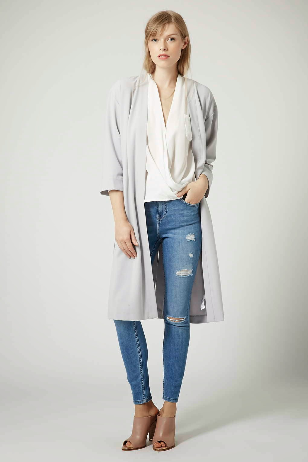 topshop grey duster coat, topshop grey jacket, topshop long grey jacket,