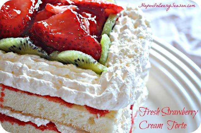 ... In Every Season: Fresh Strawberry Cream Torte and Homemaking Linkup
