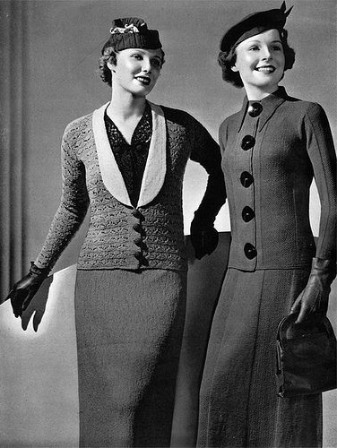 1930s knit suits #vintage #fashion #30s #style #suit
