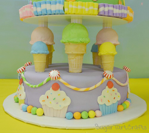 Ice cream cone cake decorations.