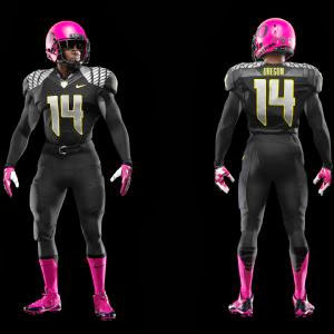 Oregon pretty in pink helmet and socks for breast cancer awareness.