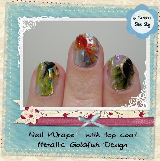 Foil nail wraps - Goldfish design