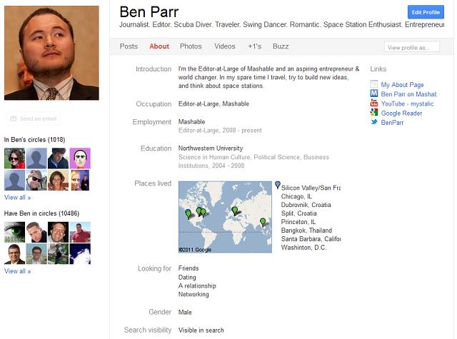 Screenshot: Google+ Profiles