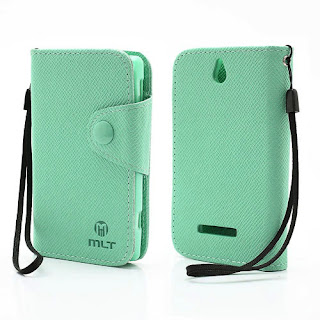 Leather Case Wallet Credit Card Slot Sony Xperia E C1504 C1505, E Dual C1604 C1605 - Baby Green