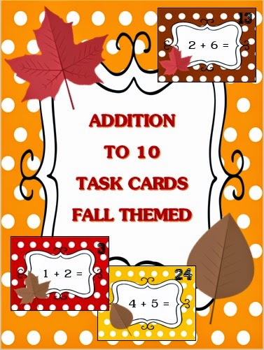 http://www.teacherspayteachers.com/Product/Addition-to-10-Task-Cards-Fall-Themed-1518502