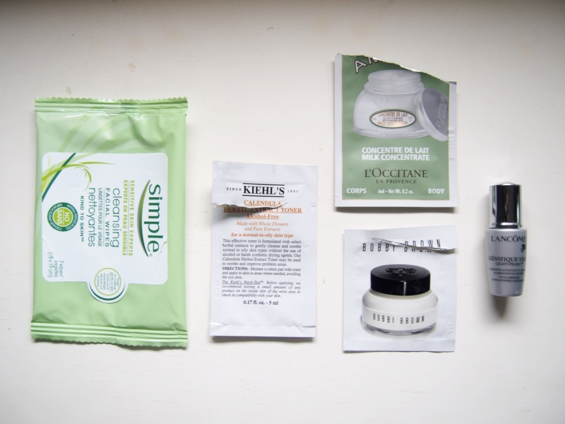 empty used up beauty and skincare samples