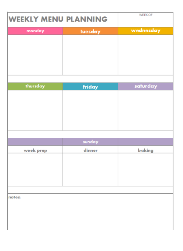 Free Printable   Weekly Menu Planning
