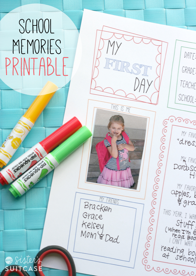 First Day of School Memory Page Printable + Blog Hop