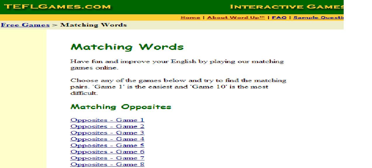 matching word games