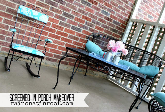 Screened-In Porch Makeover {rainonatinroof.com} #porch #makeover #summer
