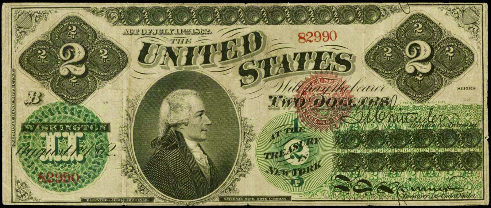 United States 1862 2 Dollar bill Hamilton