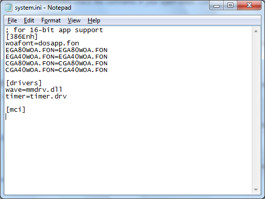 Contents of SYSTEM.INI file