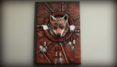 Dream wolves catcher polymer clay journal/notebook cover