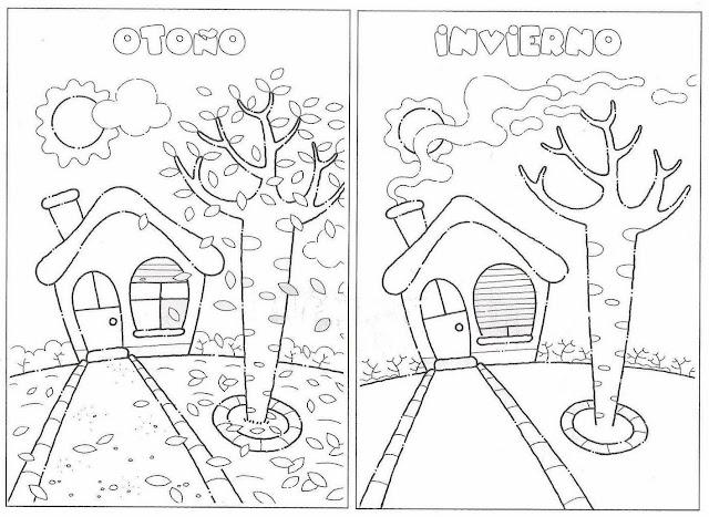 PINTAR Y COLOREAR: Fichas de estaciones | Colorear y Pintar Dibujos