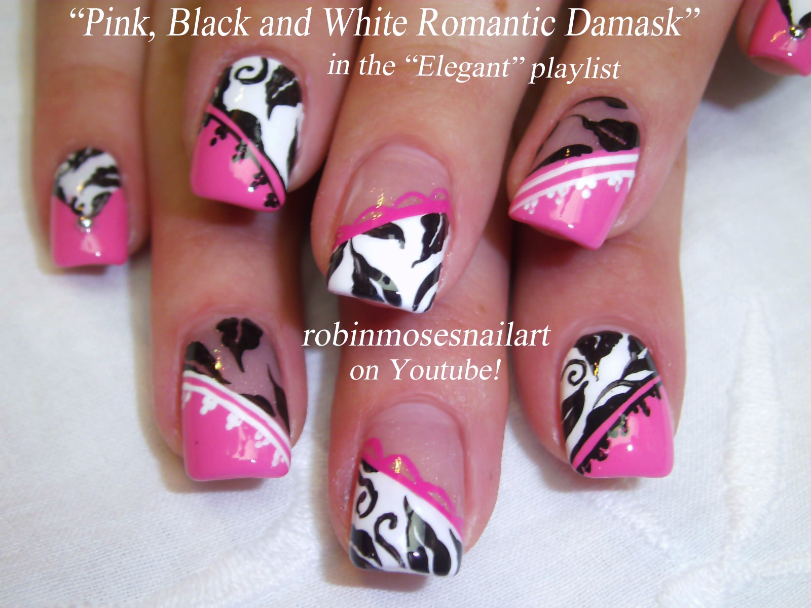 Damask Nail Art Pink Black White