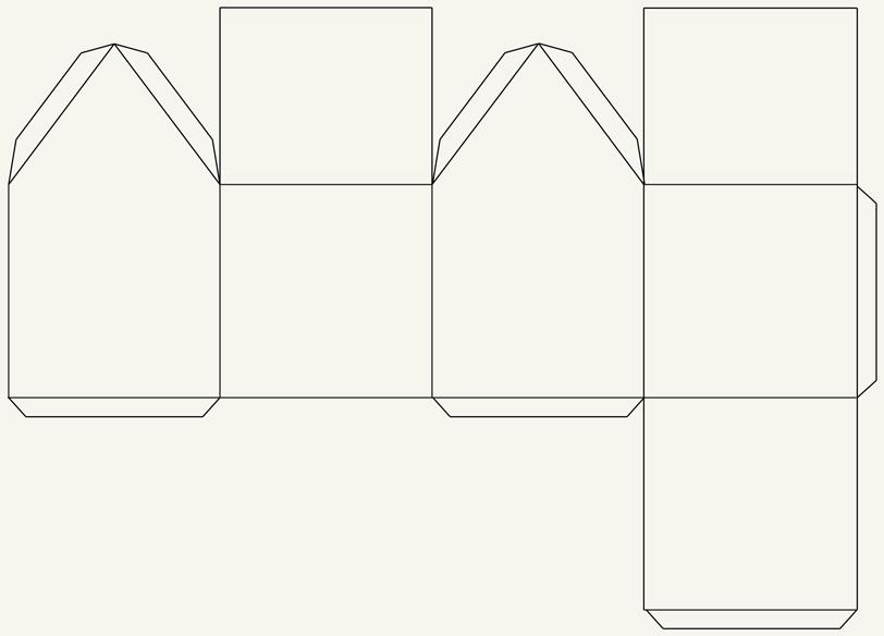 plantilla de casita de papel blanca