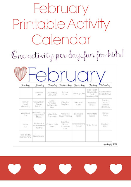 February Printable Activity Calendar for Kids || The Chirping Moms
