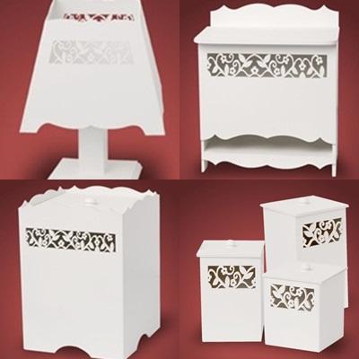 Kit Higiene branco 7 peças 180,00 (lixeira, porta fraldas, bandeja, abajur e 3 potes)
